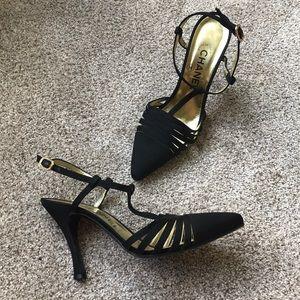 Chanel Black cut out T strap heels